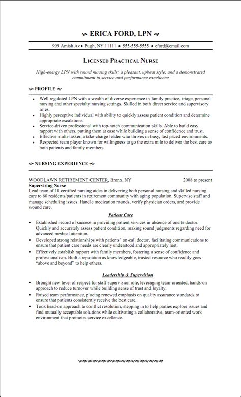 best resume template for licensed practical lpn