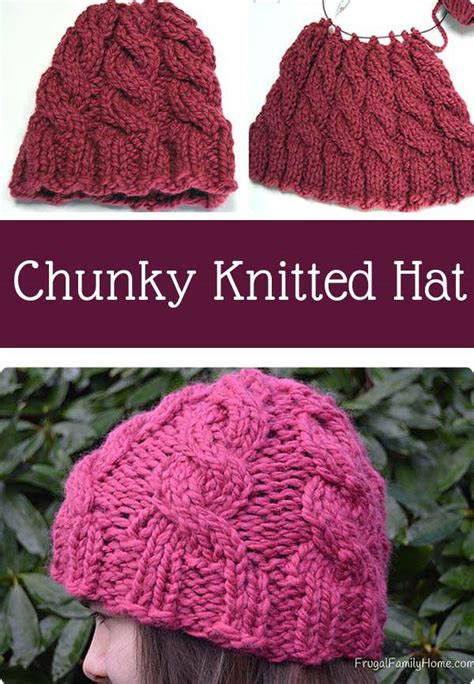 chunky yarn knit hat pattern knitted cable hat project frugal family home