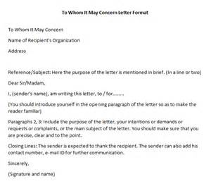 Official Letter Format To Whom It May Concern To Whom It May Concern Letter Format Writing