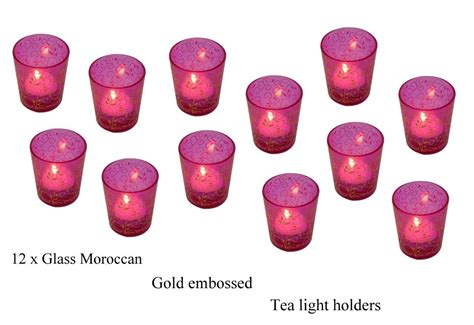 pink glass tea light holders 12 x tea light candle holders pink moroccan glass tealight