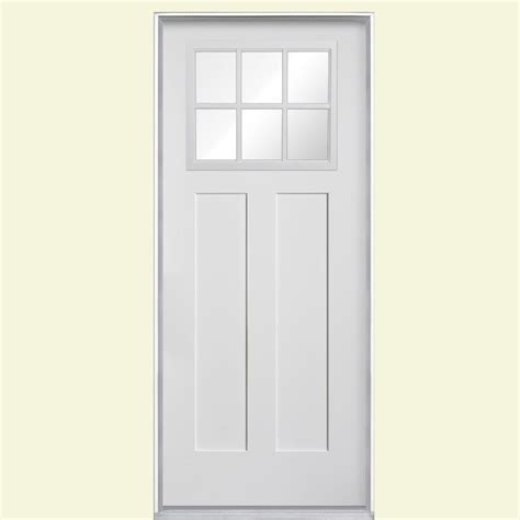 Prehung Fiberglass Exterior Doors Masonite 36 In X 80 In Craftsman 6 Lite Primed Smooth Fiberglass Prehung Front Door With No