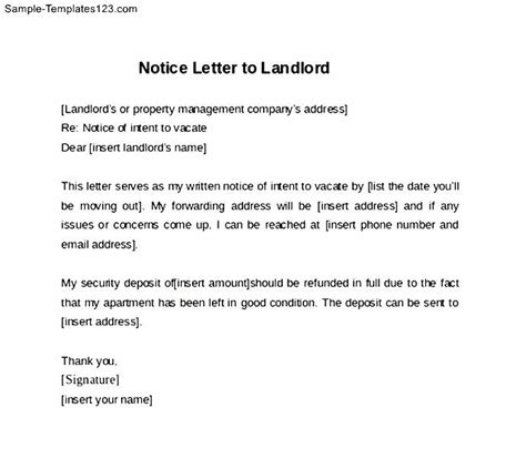exle of letter to landlord 30 day notice cover letter