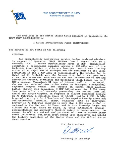 Introduction Letter Of Marine Company file 1st marine expeditionary i mef navy unit commendation citation 2004 2005 iraq jpg