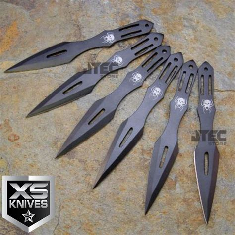 6pc set kunai 5 5 quot black throwing knives