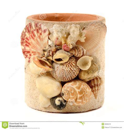 Sea Shell Vase Vase With Seashell Decorate Isolated Stock Photos Image