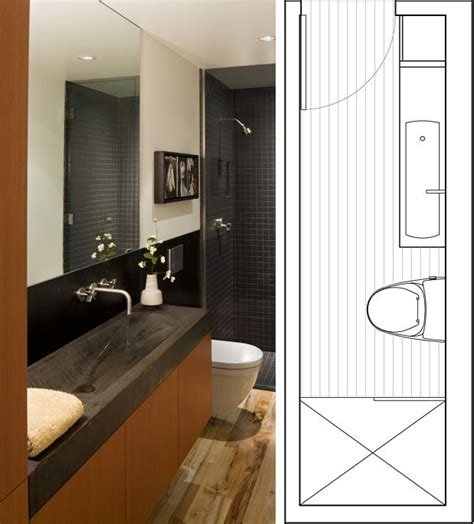 Narrow Bathrooms by Narrow Bathroom Layout Guest Bathroom Effective Use Of