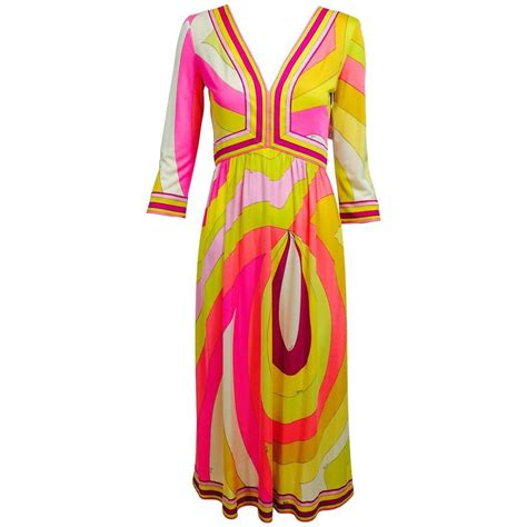 Emilio Pucci Girly Silk Dress by Vintage Emilio Pucci Pink And Citron Silk Jersey Dress