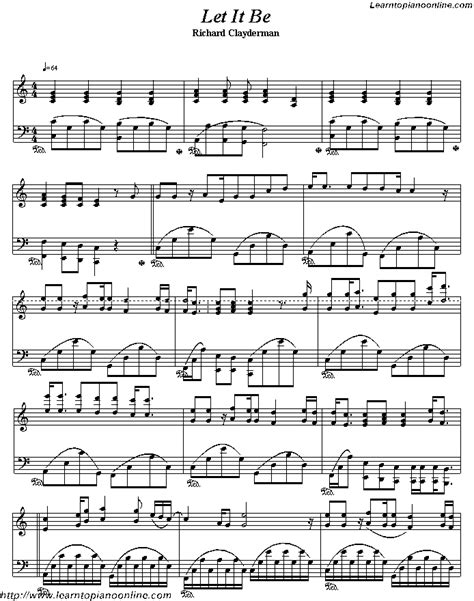 let it be printable sheet music let it be by richard clayderman free piano sheet music