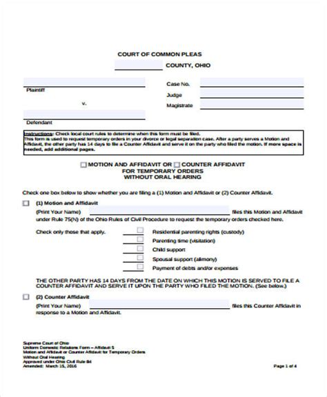 24 Sle Affidavit Forms Sle Templates Affidavit Template For Family Court