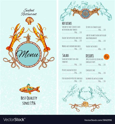 Seafood Menu Template Royalty Free Vector Image Seafood Menu Template