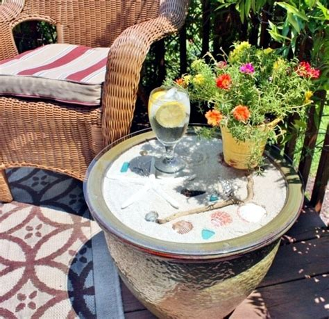 Patio Table Flower Pots Convert Side Table For Flower Pots In The Garden Diy