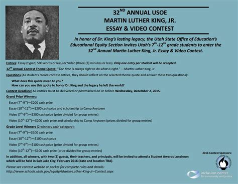 An Essay On Martin Luther King Jr by Mlk Jr Essay And Contest