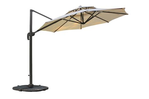 Kontiki Shade & Cooling Offset Patio Umbrellas 10 ft Round