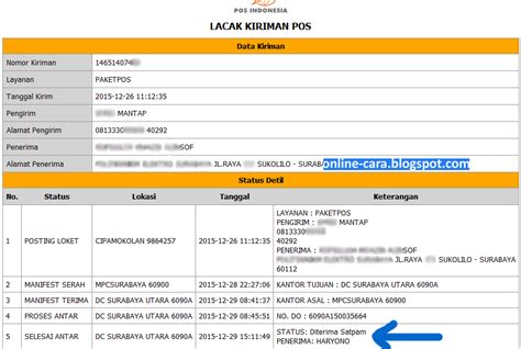 cek resi kilat khusus cara cek kiriman pos indonesia online cara