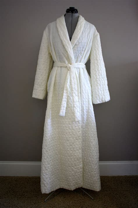 Quilted Satin Robe by Vintage Satin Quilted Robe White Barbizon Large Xl