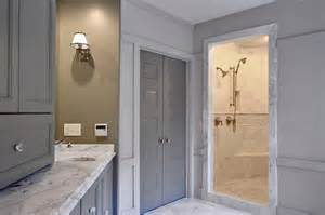 Bathroom Wolf Of Wall White Walls Gray Doors Design Ideas