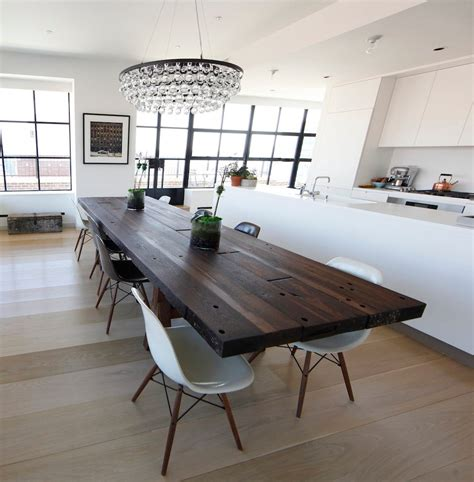 Dark table with light chairs kitchen contemporary with