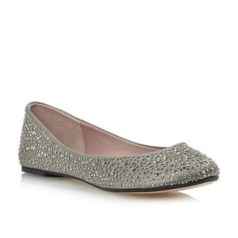 pewter flat shoes dune marthas pewter womens diamante flat ballerina