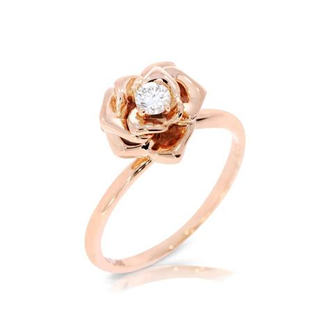 Flower Solitaire Ring by Flower Engagement Ring Ring Flower Ring Yellow Gold