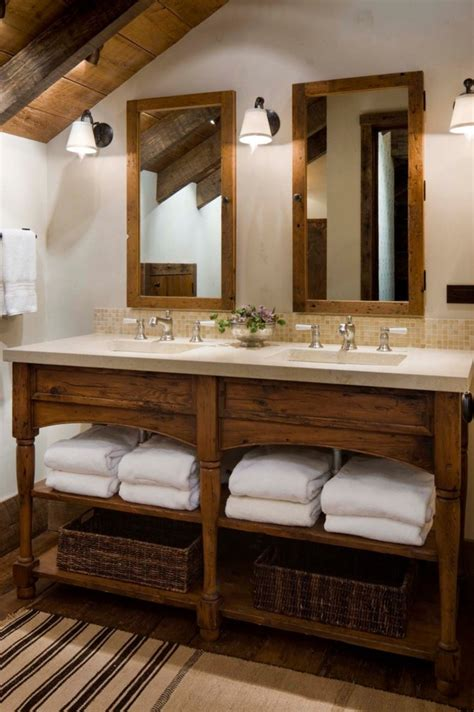 Rustic Bathroom Vanity Ideas by Lodge Bathroom Accessories Decosee