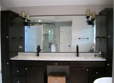contemporary master bathroom with dark wood vanities a dark wood master bathroom vanities granite top square
