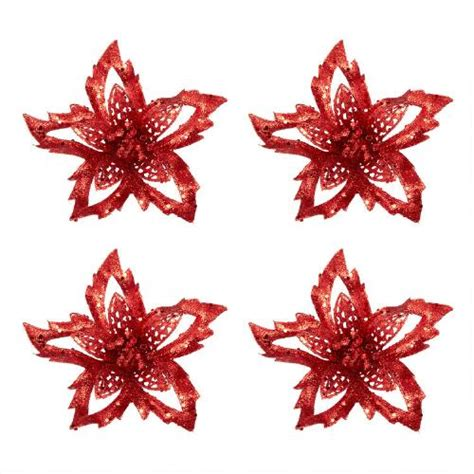 confetti flower clip on ornaments set of 4 christmas