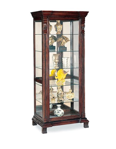 Antique Living Room With Dark Brown Wooden Curio Cabinet White Curio Cabinet Glass Doors