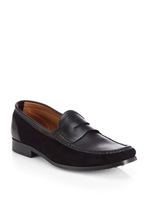 saks fifth avenue mixed media loafers in black for lyst