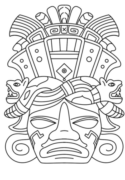 mayan mask coloring page | free printable coloring pages