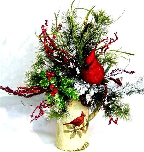 christmas welcome birds cardinal bird winter floral arrangement by cabin cove creations custom orders welcome if