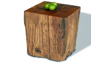 tree stump side table brings nature fragment into