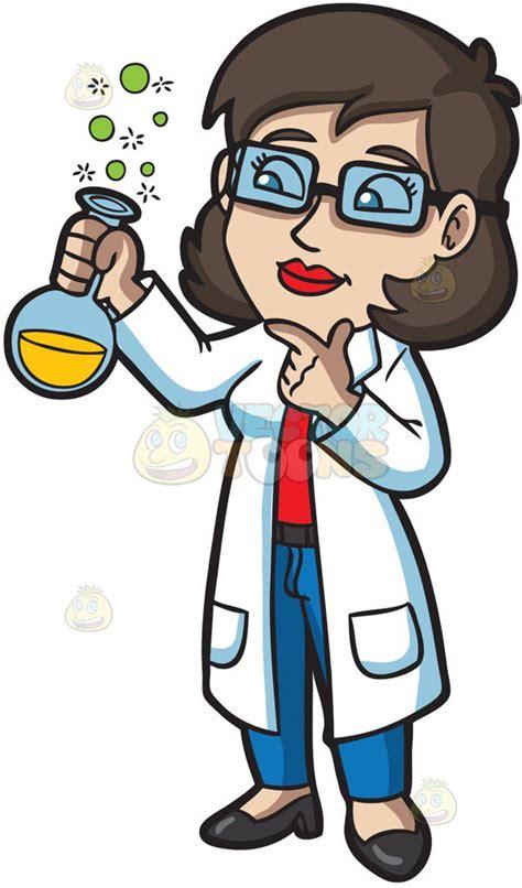 a female scientist cartoon clipart vector toons