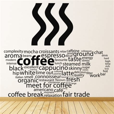 Coffee Cup Cafe Quote Wall Sticker H Alphabet Designs