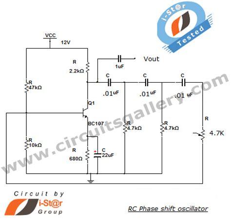 transistor oscillator circuit rc phase shift oscillator using transistor bjt circuit working circuits gallery