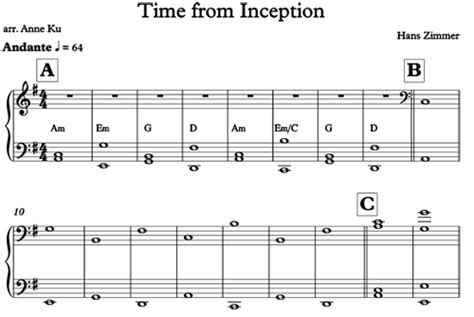 theme music inception time from inception for easy piano concert blog