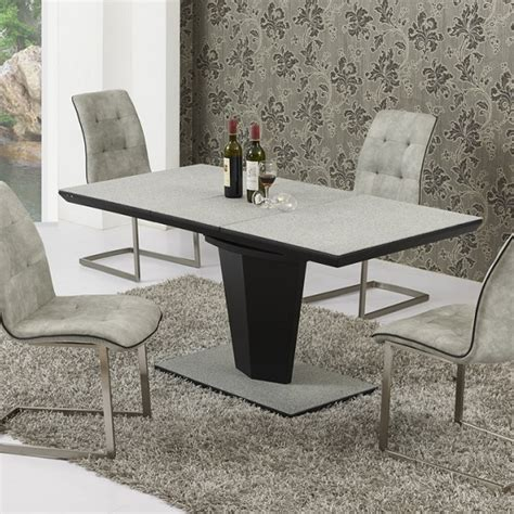 denver extendable dining table large in grey black stone