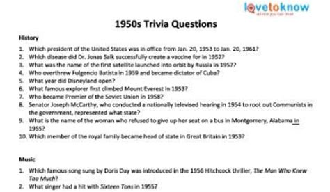 1950 Trivia Questions And Answers Printable