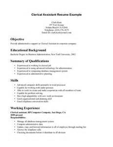 How To Write A Resume For Clerical by Clerical Assistant Resume Sle Resumes Design