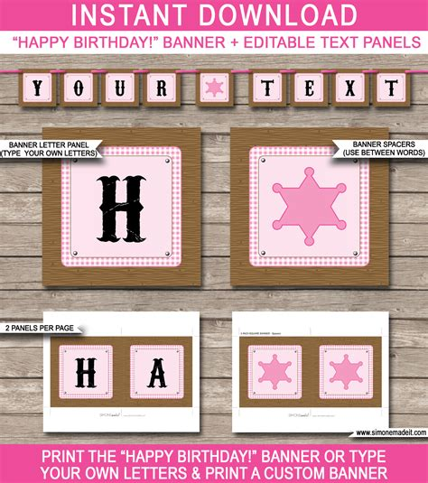 Cowgirl Party Banner Template Birthday Banner Editable Bunting Diy Birthday Banner Template