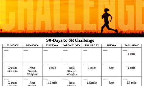 To 5k In 30 Days 30 days to for a 5k challenge active