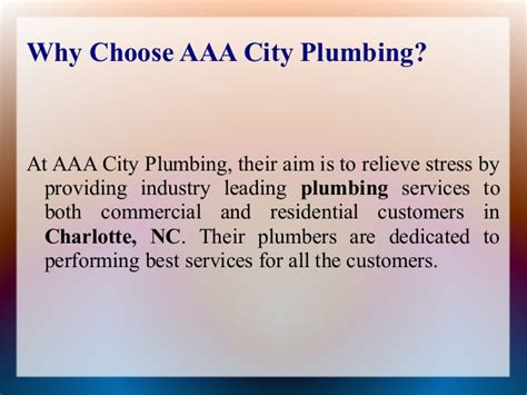 choose aaa city plumbing for the best plumbing services in