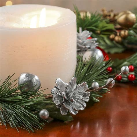 embellished artificial pine candle ring candles and