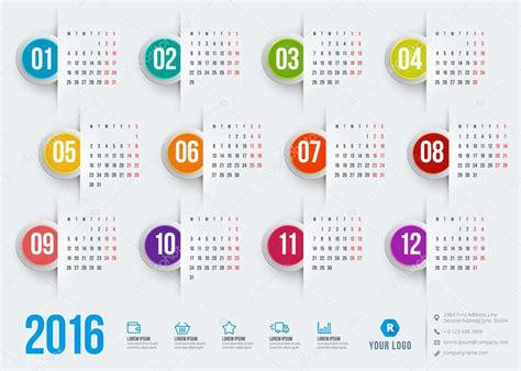 calendar 2016 vector design template stock vector