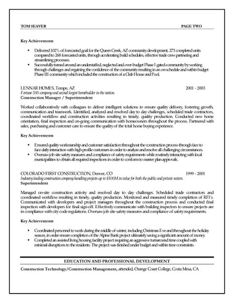 free construction contractor manager resume example
