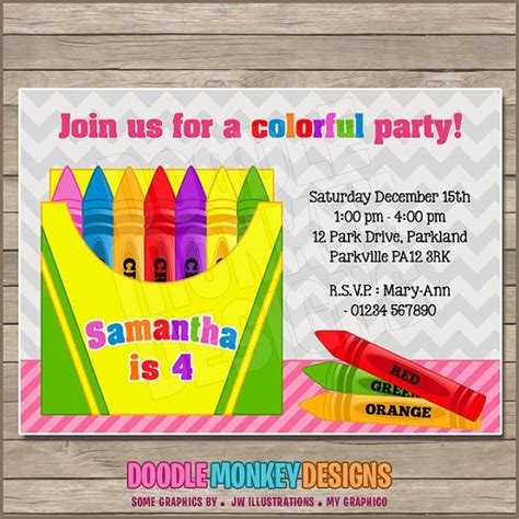 Crayon V2 Party Invitation Party Crayola Pinterest Crayon Invitation Template