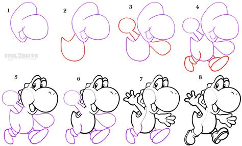 how to draw yoshi step by step pictures cool2bkids