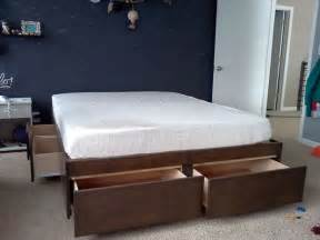Diy Platform Bed With Storage Platform Bed With Drawers