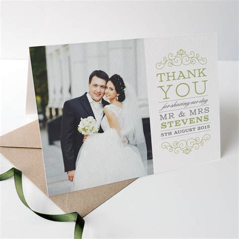 Thank You For Gift Card Wedding - eva wedding photo thank you cards by project pretty notonthehighstreet com