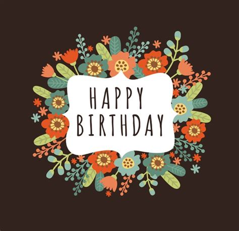 happy birthday classic mp3 download cartoon flowers birthday greeting card vector graphics