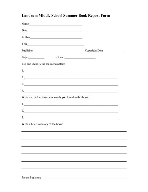 free printable book report template middle school book